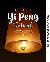 chiang, affiche, mai, flotter, vecteur, avant, yi, loy, krathong, thaïlande, lanterne, festival, peng