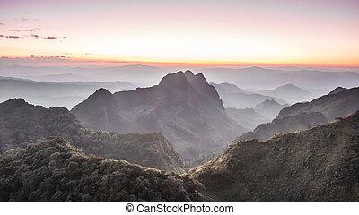 Chiang Dao Mountain in Thailand twilight beautiful