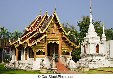 Buddhist temple with golden ornaments in Chiang Mai, Thailand