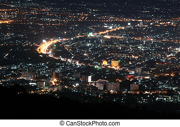 Chiang Mai Nightscape - Nightscape of Chiang Mai Province in...