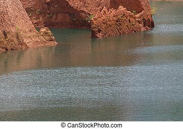 chiang mai, storslagen canyon, klippa, hoppning, resa, in, thailand