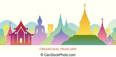 Chiang Mai, Thailand Skyline Landmarks Colorful Silhouette Background