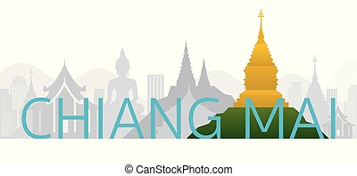 Chiang Mai, Thailand Skyline Landmarks with Text or Word