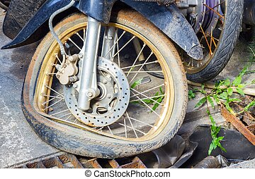 CHIANG RAI - NOVEMBER 15: Motorcycle crashed on the road on November 15, 2014 in Chiang Rai , Thailand . A lot of accidents of vehicles crash happen during New Year occation in Thailand.