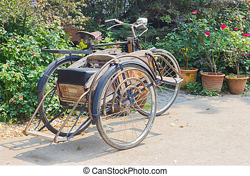 CHIANG RAI, THAILAND - APRIL 25 : classic wheeler Tricycle bicycle in the fresh garden on April 25, 2016 in Chiang rai, Thailand.
