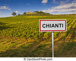 Chianti wine region of Tuscany, Italy - Road sign indicating...