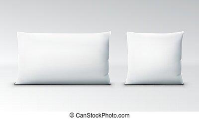 chiaro, bianco, quadrato, cuscino, con, uggia