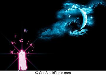 chiaro di luna, amanti, -, pioggia, no