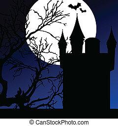 chiaro di luna, castello, vettore