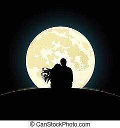 chiaro di luna, coppia, sotto, collina, seduta