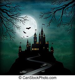 chiaro di luna, fantasia, castello, vettore, cielo