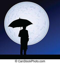 chiaro di luna, ombrello, uomo