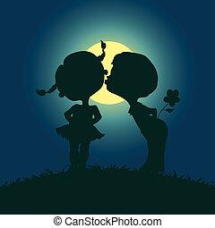 chiaro di luna, ragazzo, silhouette, ragazza, baciare
