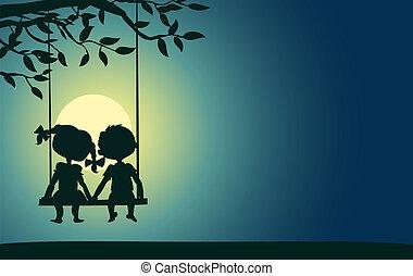 chiaro di luna, ragazzo, silhouette, ragazza