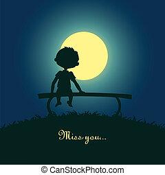 chiaro di luna, ragazzo, solitario, seduta