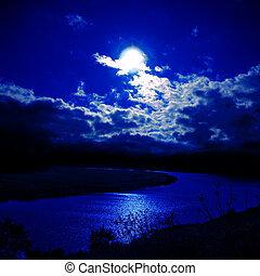 chiaro di luna, sopra, fiume