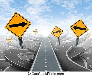 chiaro, direzione, soluzioni, strategia