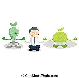 chiaro, meditare, idea, uomo affari