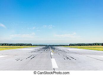 chiaro, soleggiato, day., aeroporto, sereno, pista, vuoto