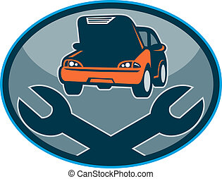 chiave, automobile, riparazione, meccanico, automobile, ...