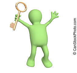 chiave, oro, titolo portafoglio mano, burattino, 3d