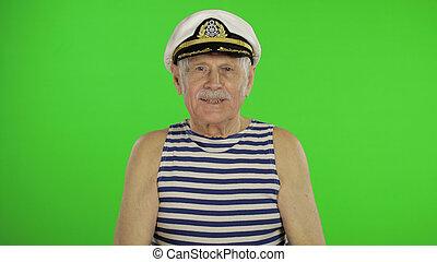 chiave, sailorman, baffi, uomo, chroma, vecchio, marinaio, anziano, sorridere.