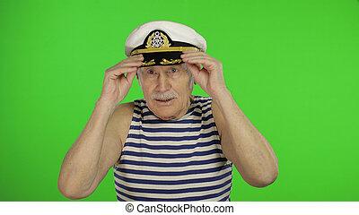 chiave, sailorman, uomo, cappello, chroma, vecchio, marinaio, anziano, mustache.