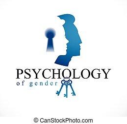 chiave, society., vettore, genere, logotipo, donna, famiglia, illustrazione uomo, conflitti, creato, profili, o, problemi, relazione, teste, comprensione, buco serratura, concetto, psicologia