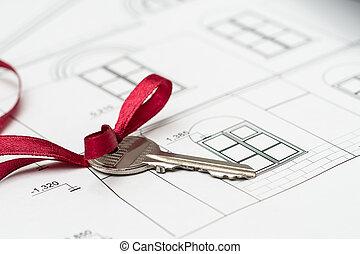 chiave, su, casa, piano, primo piano