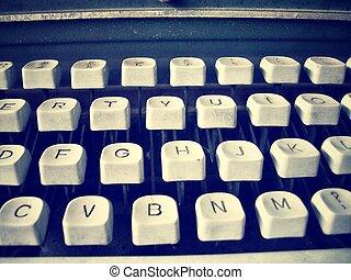 chiavi antiche, macchina scrivere, fine
