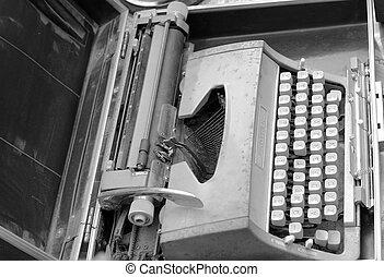 chiavi antiche, vendemmia, -, retro, macchina scrivere