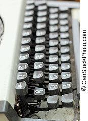 chiavi antiche, vendemmia, -, su, retro, chiudere, macchina scrivere
