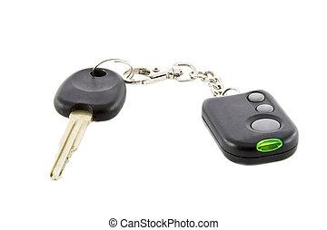 chiavi automobile, e, telecomando, di, allarme automobile, sistema, isolato, sopra, sfondo bianco