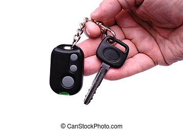 chiavi automobile, e, telecomando, sistema allarme