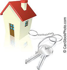 chiavi, casa, attaccato, keyring