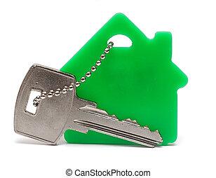 chiavi, casa, bianco, keychain, fondo
