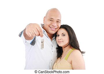 chiavi, casa, coppia, giovane, loro, presa a terra, nuovo, sorridente