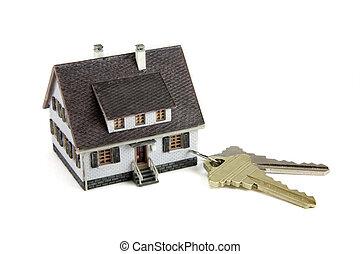 chiavi, casa, keychain, concept:, miniatura