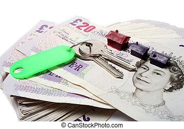 chiavi, case, sterline inglesi