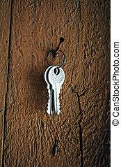 chiavi, chiodo, appendere
