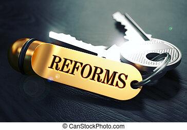 chiavi, dorato, parola, label., reforms