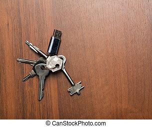 chiavi, legno, fondo, mazzo