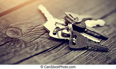 chiavi, legno, tavola., mazzo