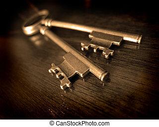 chiavi, legno, vecchio, portato