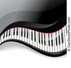 chiavi, ondulato, fondo, pianoforte a coda, bianco