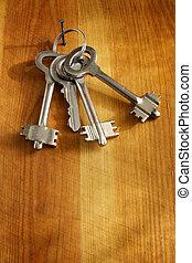 chiavi, parete, legno