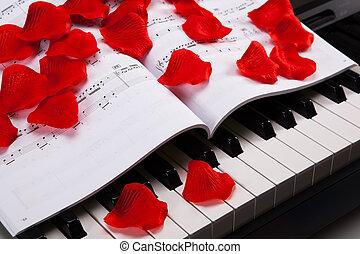 chiavi, pianoforte, libro, musicale