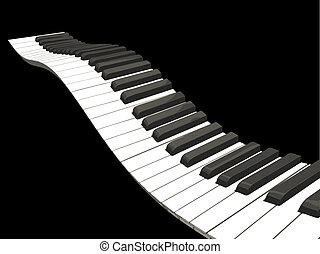 chiavi, pianoforte, ondulato