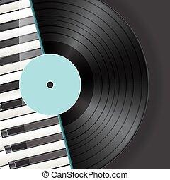 chiavi, pianoforte, vinile, fondo
