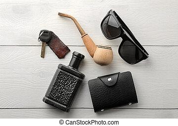 chiavi, scheda, legno, appartamento, bianco, occhiali, fumo, supporto, uomini, fondo., affari, profumo, lay., tubo, accessories., style.